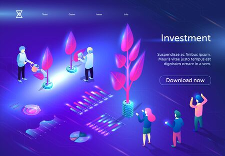 Investment Horizontal Banner. Young, Old People Caring of Plants Growing on Electronic Field with Diagrams and Analytics Charts. Digital Business Technology Marketing. 3D isometric Vector Illustration Иллюстрация