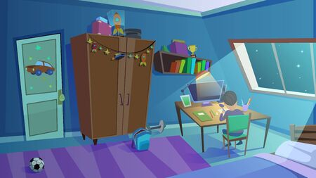 Little School Boy Doing Homework in Room at Nighttime with Moon Light Falling through Window. Children Bedroom Interior with Furniture, Toys, Shelves, Books, Computer. Cartoon Flat Vector Illustration