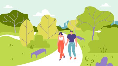 Man and Woman Walk in Park Vector Illustration. Man and Woman Athletic Build are Walking in Street Against Background Trees. Married Couple Holding Hands and Walking in Nature Cartoon. 矢量图像