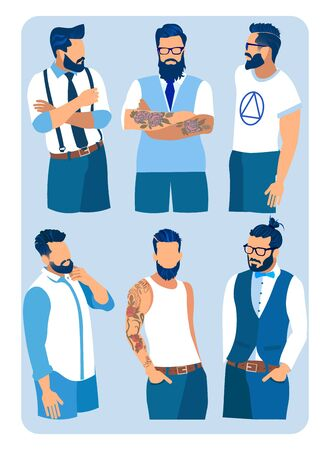 Set of Men with Different Hairstyles, Beards and Mustache Fashion. Collection of Contemporary Fashionable Stylish Hairdo and Dressing Types, Classic and Hipsters Style Cartoon Flat Vector Illustration