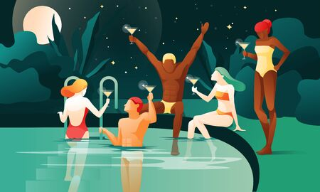 Night Party at Swimming Pool. Cartoon People Drink Cocktails Vector Illustration. Woman Bikini Man Swimsuit. Tropic Nature, Palm Tree, Full Moon. Resort Hotel, Tropic Paradise Vacation, Summer Travel Иллюстрация