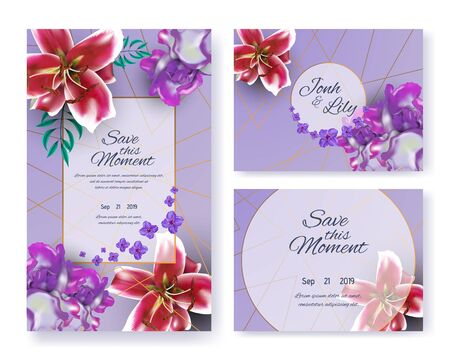 Save this Moment Wedding Invitation. Invite Card Design with Flowers and Color Design. Floral Greeting Ornament Set with Lily Buds and Leaves. Decorative Layout with Text and Date. Vector Illustration