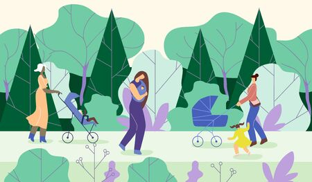 Mothers Go with Children in Park, Cartoon Flat. Young Women Carry Babies in Wheelchairs, Walking Among Trees. Girl is Carrying Baby Walking on Road. Horizontal Vector Illustration.