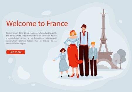 Family with Children on Background Eiffel Tower. Vector Illustration. Welcome to France. Monitor Screen. Travel and Tourism. Travel Options. Choosing Travel Online. Menu Website Travel Agency.