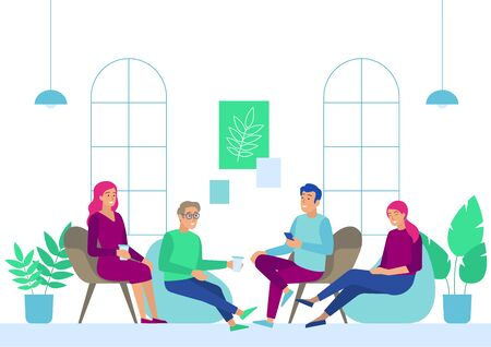 Business People Meeting at Coffee Break in Office. Young Men and Women in Casual Clothing Communicating Sitting at Armchairs. Employees Characters Having Drinks. Cartoon Flat Vector Illustration.