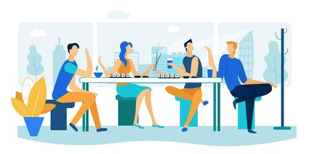 Friends Meeting in Sushi Bar. Company of Young People Having Meal in Modern Japanese Restaurant, Communicating, Chatting, Spending Leisure Time Together on Weekend. Cartoon Flat Vector Illustration Ilustração