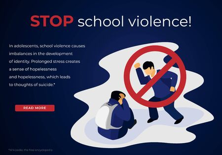 Stop School Violence. Ban Sing on Aggressive Teenager Bullying Schoolboy Victim Sitting on Ground with Backpack Trying to Defend himself of Beating. Cartoon Flat Vector Illustration, Horizontal Banner Ilustração