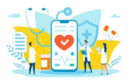 Poster Online Medical Application Cartoon Flat. In Foreground Large Smartphone. On Phone Screen Professional Application with Medical Records. Doctors Discuss Device. Vector Illustration. Иллюстрация