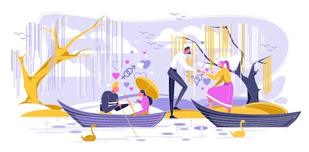 Romantic Dating in Boat Flat Cartoon Vector Illustration. Quiet Place for Declaration Love. Foliage Trees Growing above Reservoir. Beautiful Card for Couples Love. Girl with Umbrella. Relationship. Ilustração