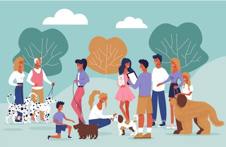 Informational Poster Dog Owners Meeting Cartoon. People Walk in Park with Dogs. Meet Dog Owners for Socializing and Competition. Men and Women Rejoice with Animals. Vector Illustration.