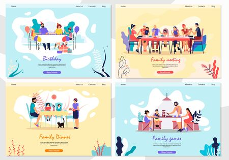 Set Banner Family Meeting, Lunch and Games Flat. Large Family Gathered around Large Table and Together Celebrated Family Celebration. Parents with Children Play Board Games. Vector Illustration.