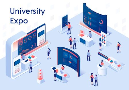 University Expo Stands. Exhibition Demonstration Stand and Trade Stalls with People. Educational Fair. Information on Screen. Promo Panel with Desk 3D Isometric Vector Illustration. Horizontal Banner. 矢量图像