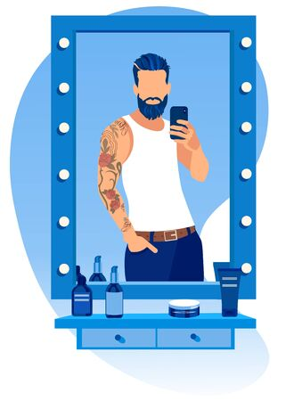 Tattooed Cool and Trendy. Handsome Young Bearded Man Wearing Sleeveless T-shirt with Hand in Pockets Making .Selfie in Barbershop Stand in front of Mirror with Cosmetics Cartoon Flat Vector Illustration Ilustração