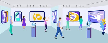 Exhibition Visitors Viewing Modern Abstract Paintings Hanging on Walls at Contemporary Art Gallery. People Enjoying Watching Creative Artworks or Exhibits in Museum. Cartoon Flat Vector Illustration Иллюстрация