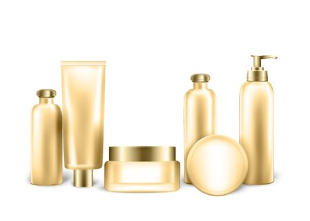 Packages Mockup Set of Empty Realistic Bottles and Tubes for Cosmetic Product in Gold Metallic Color. Collection of Plastic and Glass Containers with Pump, Dispenser. 3D Vector Realistic Illustration.