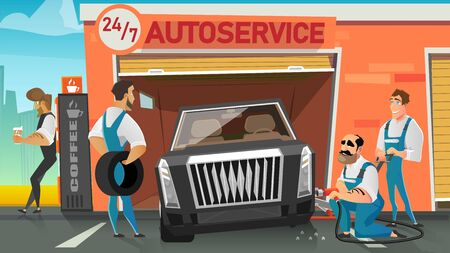 Car Repair Service Technicians at Work Cartoon Vector Concept with Auto Service Damaged Workers Team Working Together to Replace Broken Wheel or Damaged Tire, While Owner Waiting Outside Illustration