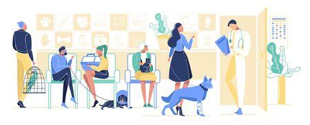 Las personas con mascotas acuden a la clínica veterinaria para recibir tratamiento. Personajes de hombres y mujeres con gatos, perros, loro esperando cita médica. Hospital de animales, Medicina. Ilustración de Vector plano de dibujos animados Ilustración de vector