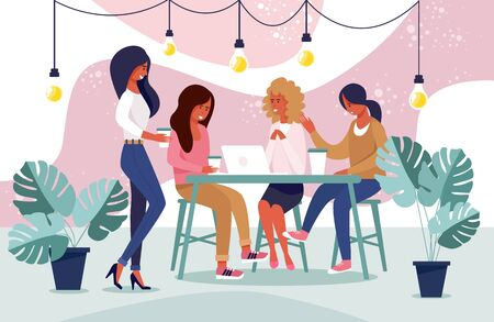Advertising Banner Loft Space Cafe Cartoon Flat. Beautiful Girls Casual Wear come Together to Chat. Women Sit at Table with Laptop and Laugh. People in Coworking Center. Vector Illustration. Ilustração