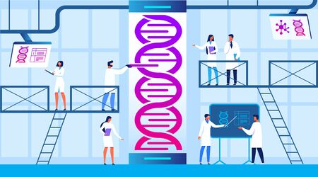 Science Lab Banner. Laboratory Man and Woman Assistants Work in Scientific Medical Chemical or Biological Lab Setting Experiment. DNA Research Vector Illustration. Changing Structure.