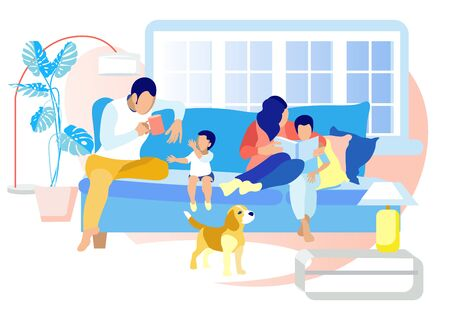 Happy Family Leisure Time in Evening or Weekend. Father Drinking Tea and Playing with Child, Mother Reading Book to Little Son, Cute Dog Stand nearby. Loving Relation. Cartoon Flat Vector Illustration Иллюстрация