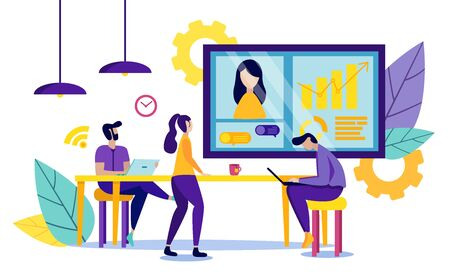 Business Partners in Office. Vector Illustration. New Technologies. People Work on Laptop. Office Workers Watching Presentation on Monitor. Presentation New Technologies. Mutual Assistance Concept.
