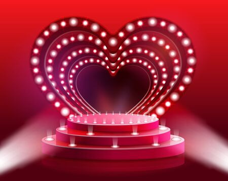 Flyer Glowing Heart Scene Vector Illustration. Rental Stage and Stage Equipment for Parties and Weddings. Comprehensive Technical Support Events, 3D Visualization Projects Realistic . Illustration