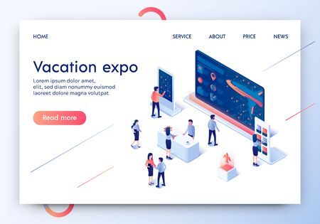 Vacation Expo Horizontal Banner. Exhibition Stands Composition for Tour Agency with View of Airplane. Exhibit Area with Booth for Traveling Offers. Desk Advertising. 3D Isometric Vector Illustration. Vector Illustration