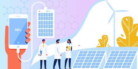 Renewable Alternative Ecological Technology, Vector illustration with Power Plant, Solar Battery, Panel. Scientists Examining Creation Banner. Mobile Phone Charging from Solar Panel. Иллюстрация