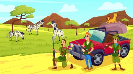 Men with Guns Came on Safari. Zebras and Lions on Grass. Animals in Savannah. Vector illustration. Excursion to Zoo. Sunny Day. Иллюстрация