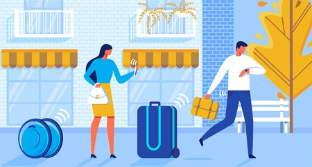 Flat Illustration Baggage Delivery Automation. Man and Woman are Hurrying Along Street, their Suitcases are Traveling with Help Wheel Automation and Control Via Internet. Иллюстрация