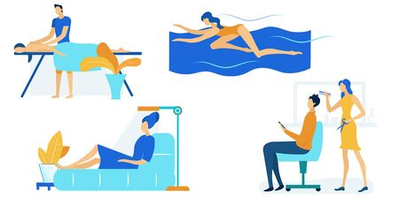 People Spending Time on Weekend Set Isolated on White Background. Visiting Massage Salon, Swimming Pool, Solarium, Barbershop. Characters Leisure, Sparetime Activity. Cartoon Flat Vector Illustration Иллюстрация