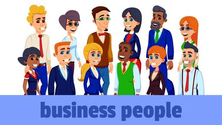 Business Diverse Men and Women Group, Working People on White Background. Business Team and Teamwork Concept. People in Formal Clothes. Corporate Employees Different Nationalities.