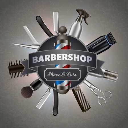 Poster for Printing. Inscription on Background Tools Barber. Barber Tool Kit. Hair Styling Product. Logo on Barbershop Items. Vector Illustration. 3D Advertising Image. Gray Background.