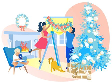 Happy Family Decorating Room on Christmas. Mother and Father Decorate Window with Tinsel, Little Child Reading Book to Kitten, Beautiful Fir Tree with Balls, Fireplace Cartoon Flat Vector Illustration