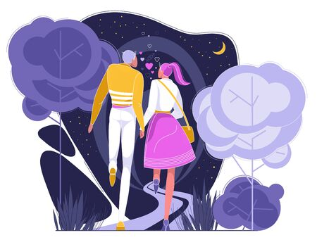 Couple in Love Having Romantic Date in Park at Night Flat Cartoon Vector Illustartion. Happy Men and Women Characters in Pairs Holding Hands. First Meeting. Lovely Relationship. Walking on Nature.