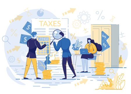 People Calculating Tax Payment Flat Cartoon Vector Illustration. Government State Taxes. Data Analysis, Paperwork, Financial Research, Report. Businessman Holding Magnifier. Woman ar Desk. Ilustração