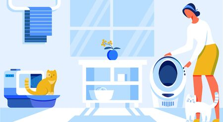 Vector Illustration Home Automation Cartoon Flat. Automatic Toilet for Cats. Woman Sets Up Comfortable Mode in an Automated Cat House. Interior Bathroom in Apartment where Cats Live. Иллюстрация