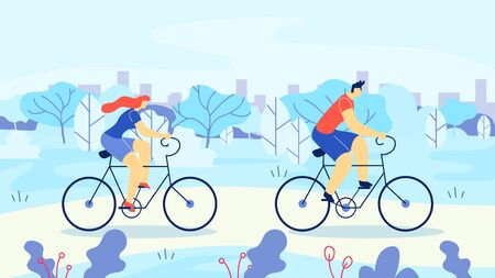 Man and Woman Riding Bicycles Out Town Cartoon. Athletic Man and Woman Riding Bike on Background Tree, Cartoon Flat. Married Couple in Sportswear Cycling in Nature. Vector Illustration. Иллюстрация
