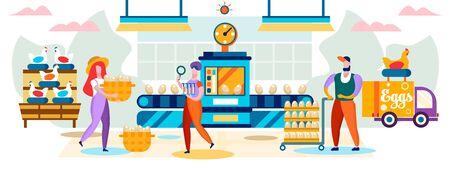 Usine de volaille. Poulets pondant des œufs sur un tapis roulant, travailleurs qui les ramassent pour les emballer, camion livrant des marchandises au magasin, métaphore de la chaîne de production en série. Illustration vectorielle plane de dessin animé. Vecteurs