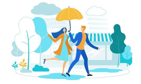 Flat Illustration Couple in Love Running in Rain. Happy Man and Woman are Walking Along City Street Under an Umbrella. Beautiful Married Couple have Romantic Relationship Cartoon Flat. 矢量图像