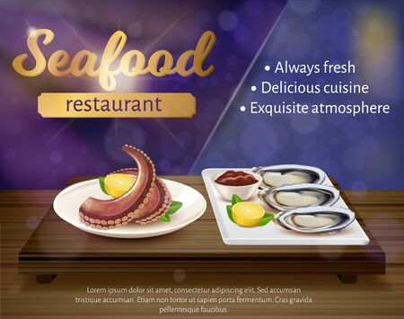Seafood Restaurant Banner. Fresh Octopus and Mussels Lying on Plate with Lemon and Ketchup Sauce. Delicacy Exotic Foodie Dish Menu, Flyer, Advertising Brochure Design, Realistic 3d Vector Illustration