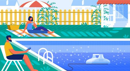 Vector Illustration Pool Cleaner Robot Cartoon. Couple Resting by Pool Yard. Man Sits on Deckchair and Controls Robot that Cleans Bottom Pool from Dirt. Pool Cleaning and Water Filtration. 矢量图像