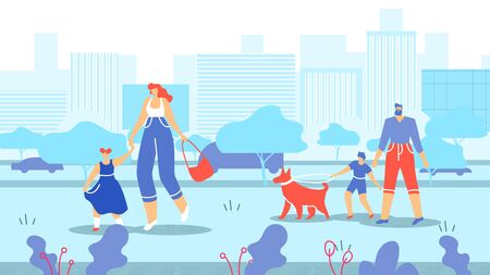 Families with Children and Animals Walk in City. Mother Holds Hand her Daughter and Leads her Along Street City. Dad Walks with his Son and Dog Through Streets Big City. Vector Illustration.