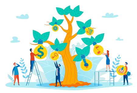 Growing Idea, Financial Success, Inspiration in Work Flat Vector Concept with People Taking Light Bulb Lamps from Tree, Finding Creative Solutions, Getting Achievement in Business or Art Illustration