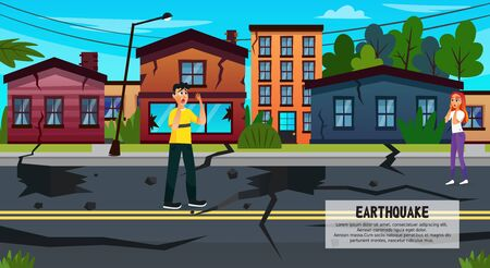 Earthquake Flat Cartoon Banner Vector Illustration. Crack In Earth after Earthquake. Men and Women Crying and Asking for Help. Damage from Destruction Homes and Property. Natural Disaster. Иллюстрация