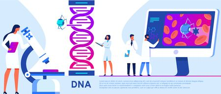 Science Laboratory Banner. Assistants Work in Scientific Medical Chemical or Biological Lab Setting Experiment. Woman Working with Microscope. DNA Research Vector Illustration. Changing Structure.