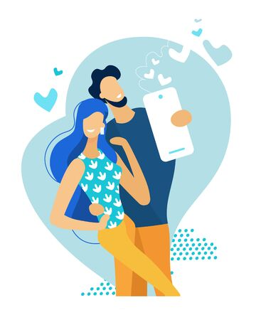 Young Happy Couple Making Selfie. Man Holding Smartphone Shooting Picture of himself with Girlfriend. Love, Romantic Relations, Meeting. Family Memory Sweet Moments. Cartoon Flat Vector Illustration Illusztráció