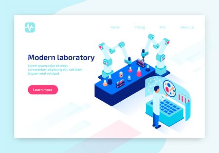 Laboratory Tests Using Modern Technologies. Doctor Watching on Human Blood Cell at Virtual Screen. Qualified Medical Care, Healthcare, Diagnosis. 3D Isometric Vector Illustration, Horizontal Banner Illusztráció