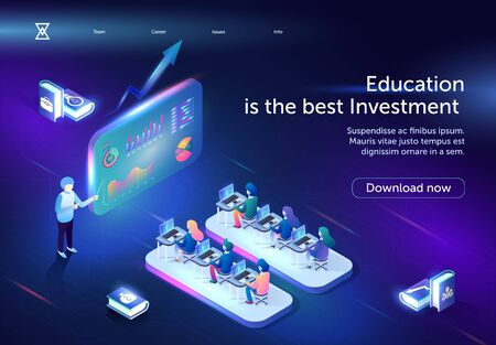 Education is the Best Investment Horizontal Banner. Young People, Students Sitting in Stylized Classroom with Laptops on Desks in Front of Huge Screen with Graphs. 3D isometric Vector Illustration. 矢量图像