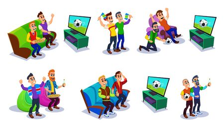 Soccer Fans and Friends Watching TV Set on Couch Flat Cartoon Vector Illustration. Football Match Supporting People. Men Holding Ball and Flags, Scarfs with Favourite Sport Team, Cheering.